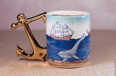 Купить или заказать Чашка для усов 'Моряк. День' фарфоровая в интернет-магазине…