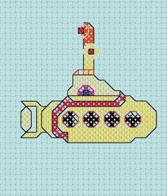 Beatles Yellow Submarine Cross Stitch by even-star, via Flickr