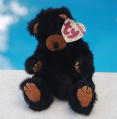 """1993 RETIRED TY Beanie Babies The Attic Collection """"Ivan Movable Limb Black Bear #Ty"""