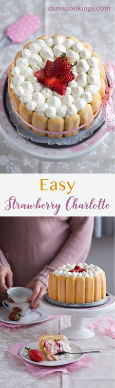 Easy and super delicious Strawberry Charlotte with fluffy ricotta and cream cheese frosting. Enjoy the spring with this wonderful dessert. Full recipe at daniscookings.com