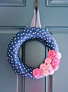 Preppy Tie Party Navy and Pink Wreath by Paige Simple Studio | paigesimple.com