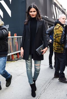 Turtle neck blazer distressed jeans ankle boots