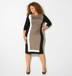 Shop beautiful new fall dresses in sizes 14-32 like the Colorblock Ponte Dress available online at avenue.com. Avenue Store