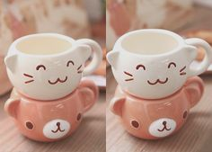 Kawaii bear and cat teacups