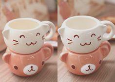 Kawaii bear and cat teacups