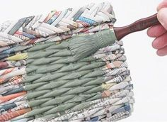 I used to make some newspaper baskets so why didn't I think to paint them?