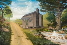 Historical oil painting on how the name Fountain Inn, SC came to being. Much research went into this artwork on how Indians made a trail, settlers converted it to a stage coach run and an Inn was built near a fountain. Name Paintings, Oil Paintings, Oil Paint Medium, Various Artists, South Carolina, Fountain Inn, Outdoor Living, Stage Coach, Names