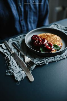 Healthy pancakes with plum compote on rice flour