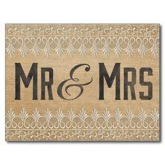 Vintage Burlap Mr & Mrs. Postcard Postcard