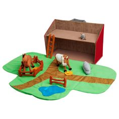LANDET Farmhouse with animals,13 piece set - IKEA >> *this is one of those brilliant things from Ikea - folds flat to store (or keep closed as a barn house) & provides endless entertainment for little ones.