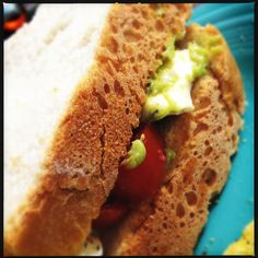 For lunch: Mozzarella, tomato & avocado sandwich on homemade crusty, French bread - yum!
