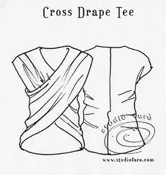 studiofaro-wellsuited.blogspot.com | Puzzle Cross Drape tee pattern