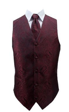 Burgundy Paisley Full back vest with five buttons and two real pockets. This vest has an adjustable strap on the back. The lining and back are black. Vest only, Cowboy Wedding Attire, Men's Tuxedo Wedding, Black Suit Wedding, Wedding Vest, Prom Tuxedo, Formal Tuxedo, Wedding Suits, Wedding Tuxedos, Fall Wedding