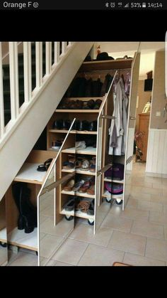 Multipurpose staircase - multipurpose staircase with plenty of storage space Staircase storage, stairway storage, space under stairs «wardrobe Multipurpose staircase - multipurpose staircase with plenty of storage space S . Closet Under Stairs, Space Under Stairs, Loft Stairs, Basement Stairs, House Stairs, Basement Ideas, Under Staircase Ideas, Basement Ceilings, Diy Storage