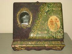 Antique Victorian Cabinet Tintype Photo Album Self Standing w/ Mirror & Picture
