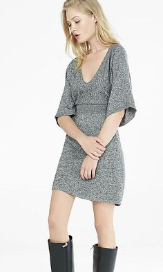 marl kimono sleeve v-neck sweater dress