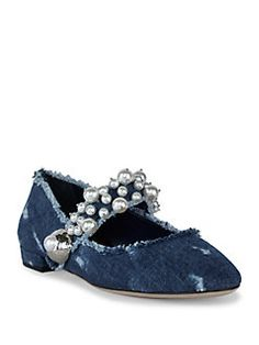 Designer Clothes, Shoes & Bags for Women Cute Shoes, Me Too Shoes, Evening Flats, Denim Flats, Blue Flats, Beaded Trim, Mary Jane Shoes, Miu Miu, Blue Denim