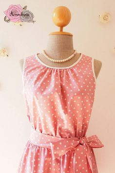 Pink Party Dress Pink Dress Polka Dot 50's Vintage Summer Dress Pink Sundress Modest Dress Pink Swing Dress Sleeveless Dress -XS-XL,Custom