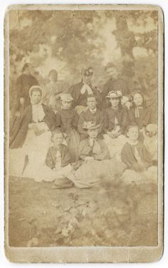 CDV from eBay. Girls' hats and outerwear. C. 1860-1865.