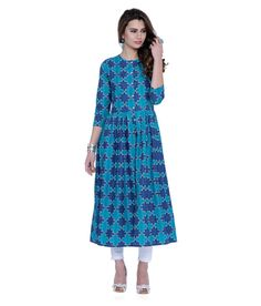 ecd5e1785df Buy Vishudh Blue Cotton A-line Kurti from Snapdeal