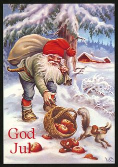 New Double Christmas Cards by Lars Carlsson Vintage Styled Gnome Squirrel Swedish Christmas, Christmas Gnome, Scandinavian Christmas, Winter Christmas, Merry Christmas, Vintage Christmas Cards, Christmas Pictures, Christmas Greetings, Elves And Fairies