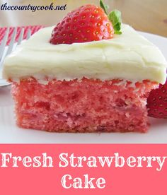 Ingredients:  FOR THE CAKE:  1 box vanilla, white or yellow cake mix;  1 (3 oz.) box strawberry gelatin mix (Jell-O);  4 eggs;  1 cup vegetable oil;  1/4 cup water;  1 pint fresh strawberries (or 1 cup crushed fresh strawberries)    FOR THE ICING:  1/2 block (4 oz.) cream cheese, softened;  1/3 cup butter, softened;  2 cups powdered sugar;  1 tsp. vanilla extract;  1 tbsp. milk.