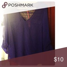 Purple Blouse from Candie's Gorgeous purple blouse from Candie's, size small. Really pretty cutout detail in back as pictured. Doesn't fit me, can't return. NWT Candie's Tops Blouses