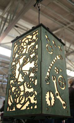Green Wood Shoji Lamp - Gears by Kbanshee on etsy