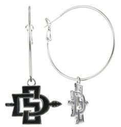 Black San Diego State SD Hoop Earrings