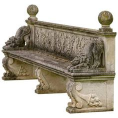 Late 20th Century Carved Stone Bench