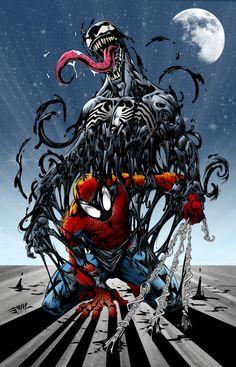 #Spiderman #Fan #Art. (Spider Man and Venom - Marvel) By: Andreranulfo. (THE * 5 * STÅR * ÅWARD * OF: * AW YEAH, IT'S MAJOR ÅWESOMENESS!!!™) ÅÅÅ+