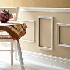Picture Frame Molding If you're looking for an easy way to get the look of decorative molding, why not repurpose frames as a wall treatment? Consider it a literal take on traditional picture frame molding. Picture Frame Molding, Old Picture Frames, Dining Room Wainscoting, Wainscoting Height, Wainscoting Nursery, Painted Wainscoting, Wainscoting Panels, Wainscoting Ideas, Wall Molding
