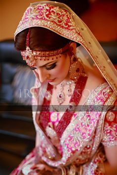 Beautiful Pakistani bride in pink, gold, and red | Irfan Ahson Photography
