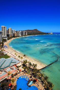 Waikiki Beach and Diamond Head, Oahu, Hawaii...need to go back someday.  My visit there was just too brief.