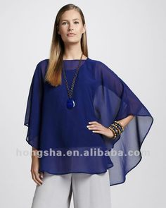 2014 nuevo estilo de moda de color azul oscuro de seda Georgette Ponchos HSF8118-Tallas grandes de Camisas y Blusas-Identificación del producto:559386755-spanish.alibaba.com