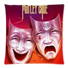 Custom Cotton and Polyester Soft Square Zippered Cushion Throw Case Pillow Case Cover 18X18 (Twin Sides) - Pop America California Famous Rock Band Glam Metal Motley Crue Smiling Face Crying Face Mask Red Ribbon Dreamy Red And Purple Background Personalized Pillowcase * Don't get left behind, see this great product offer  : Decorative Pillows