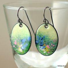 Summer Fields Enamel Earrings, Pastel Dangle Flower Earrings, SOLD, Impressionist Floral Design, One of a Kind Artisan Vitreous Enamel Original