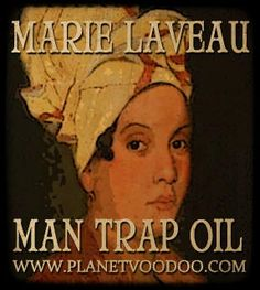 Marie Laveaux Man Trap Oil speaks of bewitchment and seduction; the name, like a Black Gypsy's powerful love spell, the playful and sensual fragrance, and client testimonies that its magick works on men like a powerful hypnotic drug. If you are having a hard time finding a man, wear Man Trap Oil out on the town and watch strangers flock to you like moths to a flame. Poised between fetish and fairy tale; its magic acts as an aphrodisiac of the senses and catnip to men!  $9.95 for 4 drams