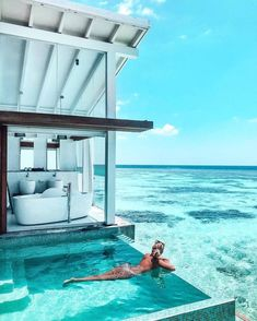 Villa in the Maldives. Wanderlust bucket list of places to travel and a visit on a vacation trip. Tropical places to vacation. Vacation Places, Vacation Destinations, Dream Vacations, Dream Vacation Spots, Holiday Destinations, The Places Youll Go, Places To Go, Hotel Swimming Pool, Hotel Pool