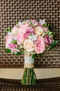 Gorgeous pink bouquet // see more: http://theeverylastdetail.com/romantic-lavender-and-yellow-wedding/ // Photographer: Bob Care Photography / Wedding Planner/Coordinator: Destination Wedding Studio / Flowers & Decor: Floral Fantasy
