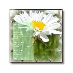 Daisy Flower Dream Poem Poetry Flowers - Wall Clocks