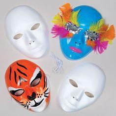Lot de 6 Masques en Plastique Blanc à personnaliser - Idéal pour le Carnaval