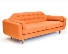 Lounge22 Designer Ellington Sofa in Striking Tangerine Orange.  A truly unique sofa like no other. $1950
