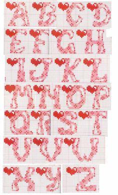 Schema alfabeto cuore Cross Stitch Alphabet Patterns, Cross Stitch Letters, Cross Stitch Heart, Stitch Patterns, Cross Stitching, Cross Stitch Embroidery, Ladder Stitch, Alphabet And Numbers, Lettering