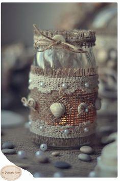 Best Ideas for Better Living Mason Jar Gifts, Mason Jar Candles, Mason Jar Diy, Diy Bottle, Bottle Art, Bottle Crafts, Sea Crafts, Seashell Crafts, Jam Jar Crafts