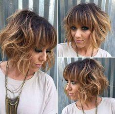 Messy, Short Bob Haircut + Caramel Balayage Highlights
