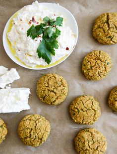 Baked Falafel with Spicy Feta Dip