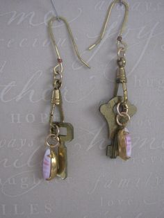 Pink Swirl Drop Vintage Key Earrings by TwoVintageMoms on Etsy, $14.50