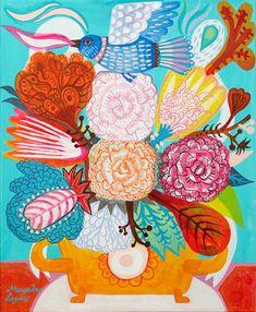 Flowers and Fenix by Mercedes Lagunas #flowers #floral print #fenix bird
