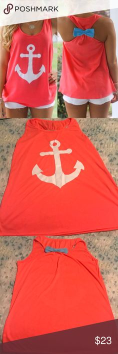 Boutique ⚓️ tank top Adorable boutique tank with a cute bow detail on the back. Size XL, but fits like a large. Brand new without tags. Beautiful coral color with baby blue bow on the back. Boutique Tops Tank Tops